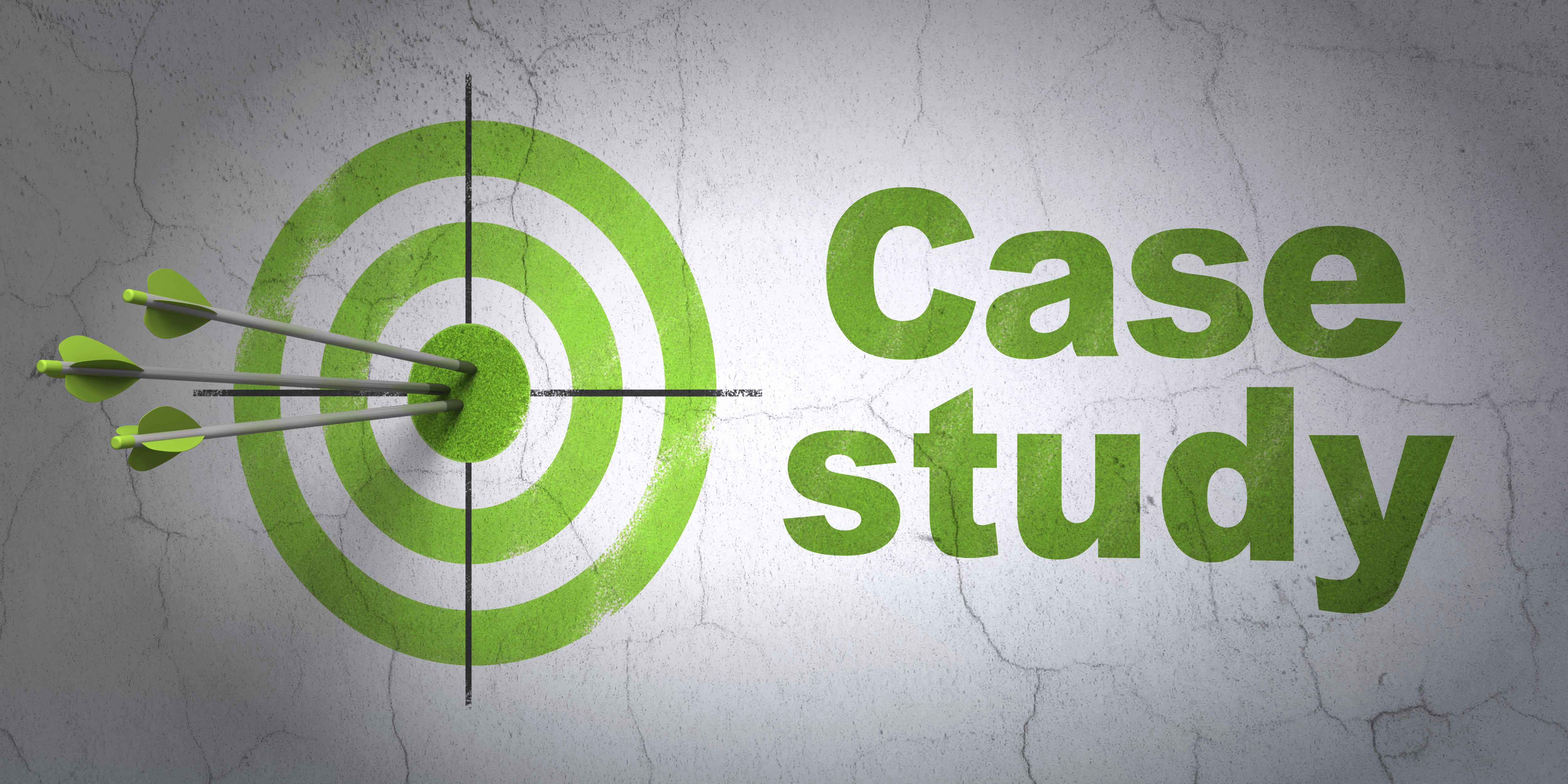 Success Education concept: arrows hitting the center of target, Green Case Study on wall background, 3d render
