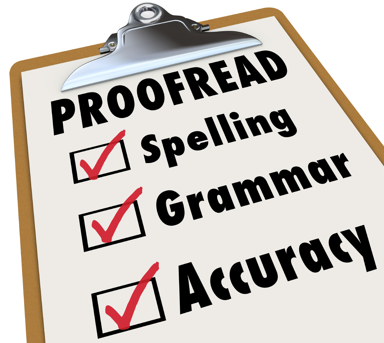 Proofread checklist and checked boxes next to the words spelling, grammar and accuracy as the things an editor reviews in an essay, article or report