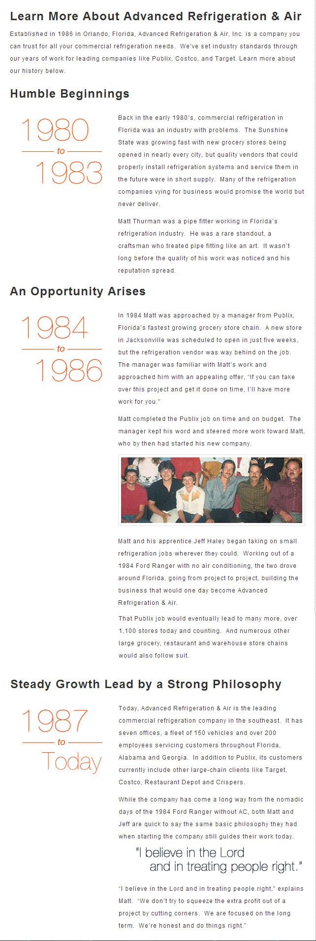 Advanced Refrigeration & Air History