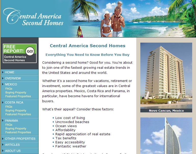Central American Second Homes Hompage