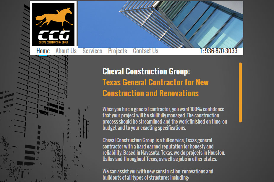 Cheval Construction homepage copy by Susan Greene