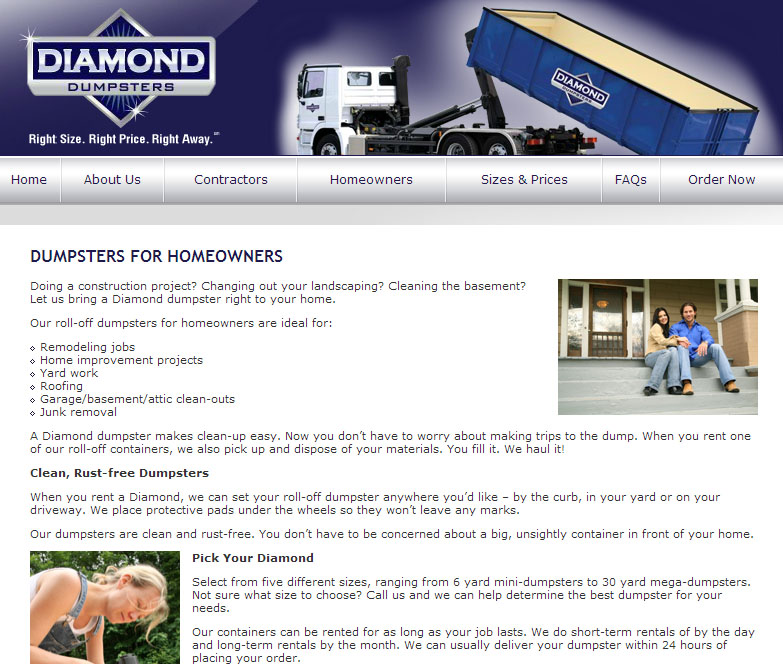 Diamond Dumpsters Homeowners Page