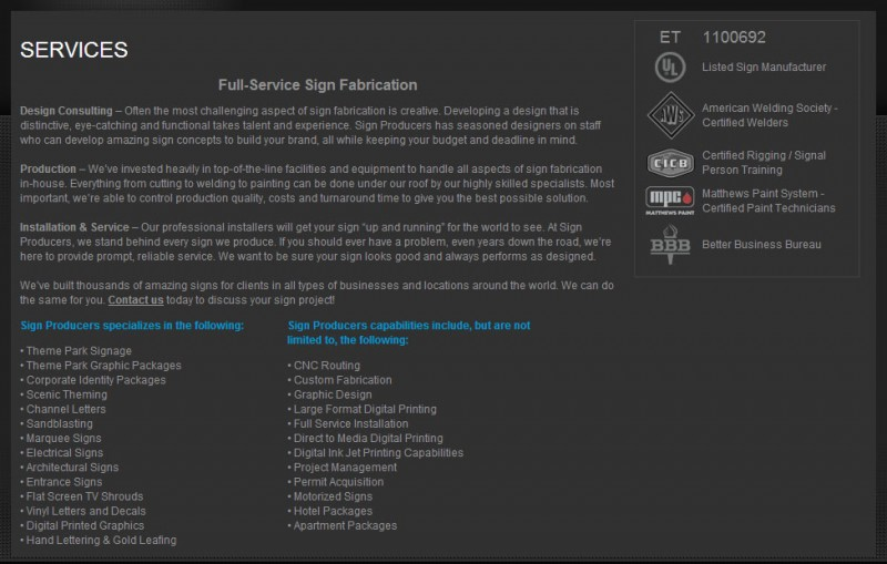 Sign Producers Services Page Screenshot