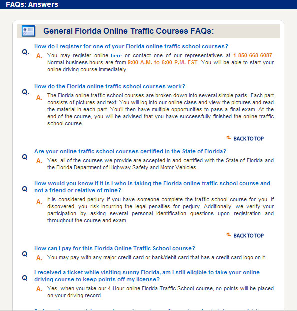 Traffic School Success FAQs