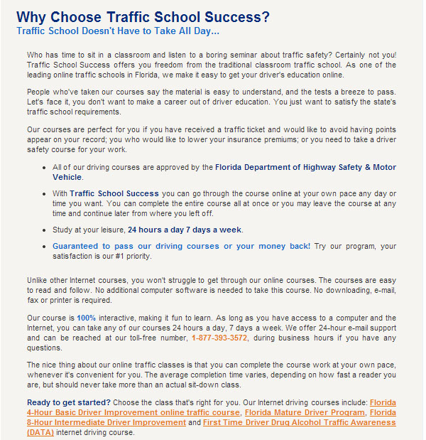 Why Choose Traffic School Success