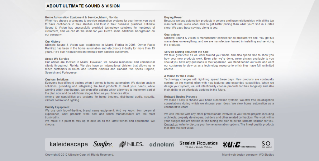 ultimate sound and vision about us page