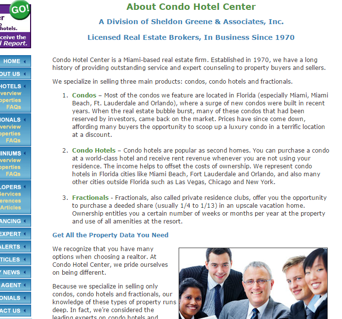 condo hotels center about us page