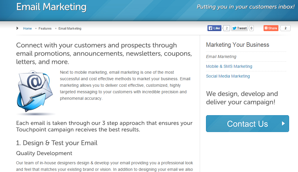 toupoint technologies email marketing page