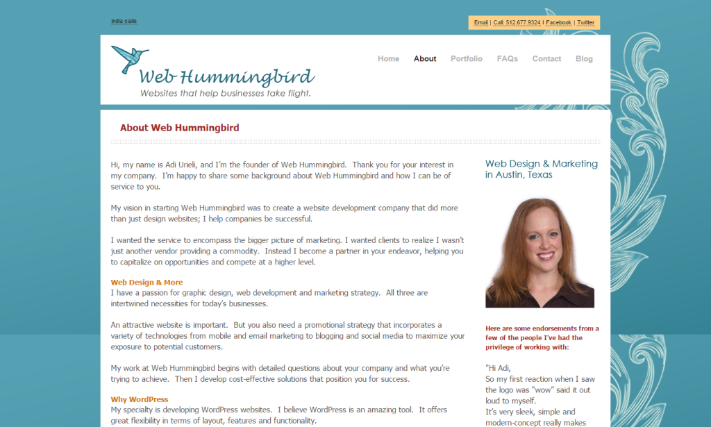 web hummingbird about us page
