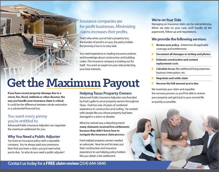 Advanced Public Insurance Adjusters, Brochure & Postcard