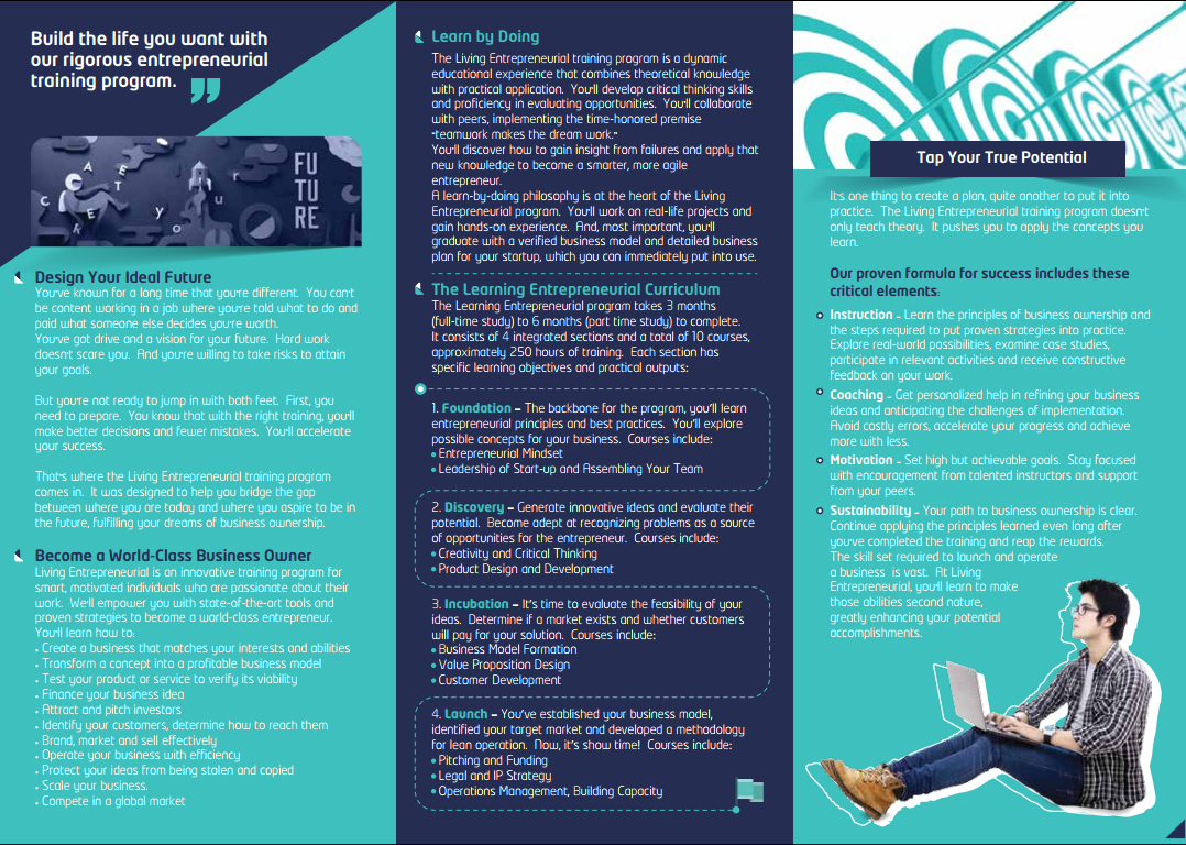 Tri-fold Brochure - Living Entrepreneurial Program