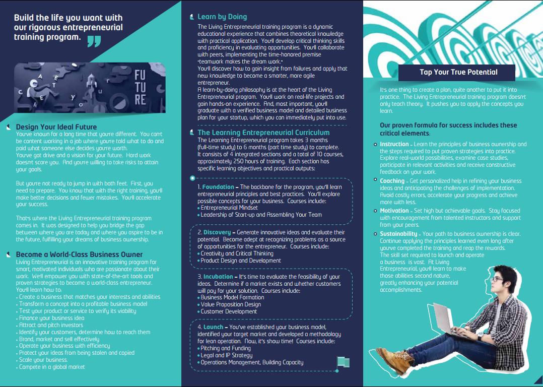 Tri-fold Brochure - Living Entrepreneurial Program