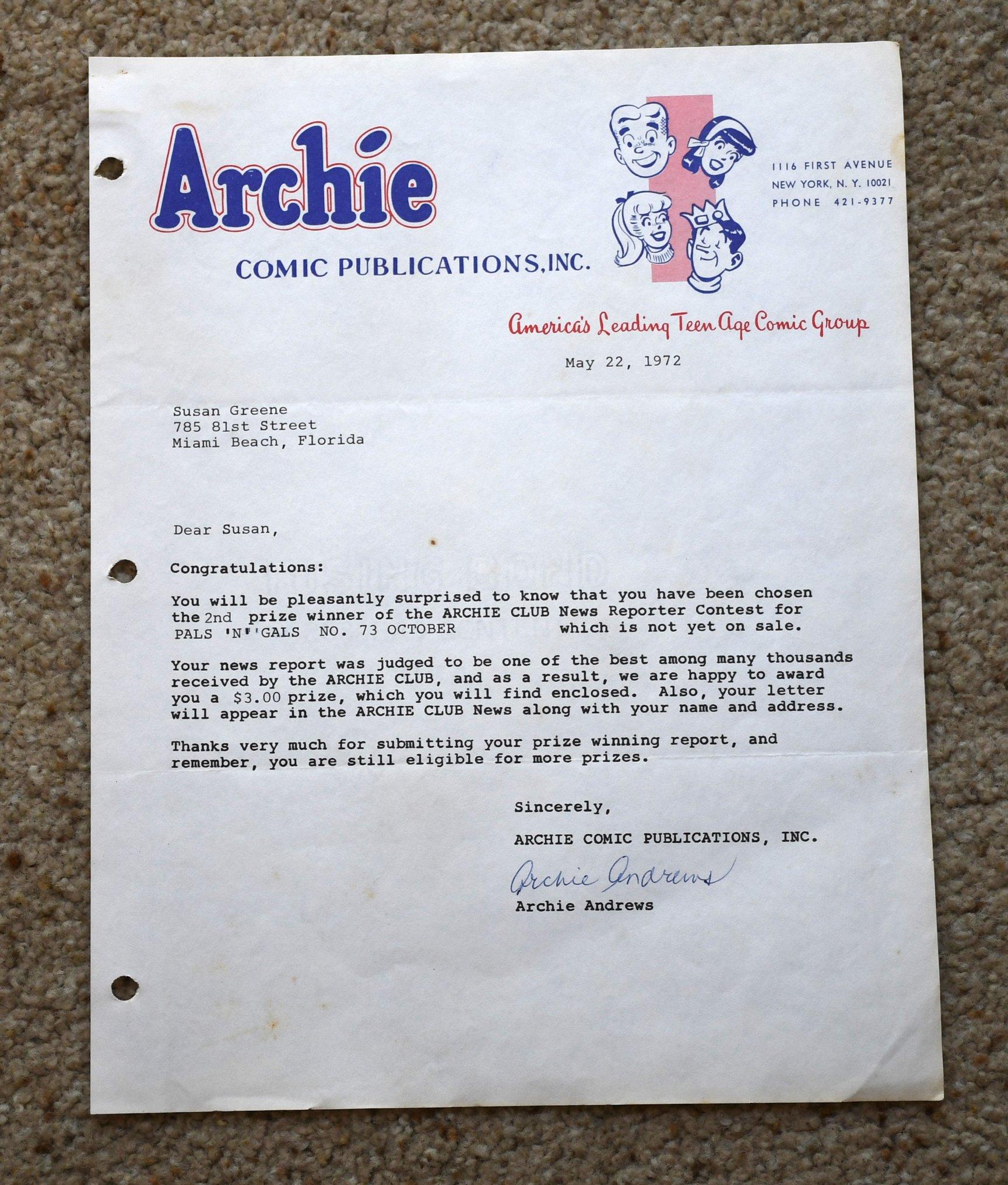 Archie comic letter